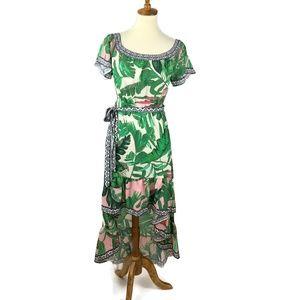 Flying Tomato Hi Lo Maxi Dress Size M Palm Print